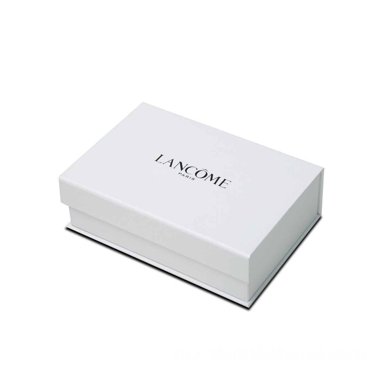 white collapsible cardboard gift box with side way folding