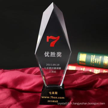 Trophée de cristal de haute qualité en verre de fabricant pour des cadeaux en cristal