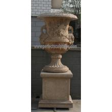 Urne de marbre en pierre pour décoration de jardin (QFP188)