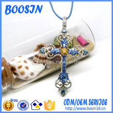 Custom Brand Rhinestone Cross Pendant Necklace for Religious Promotion