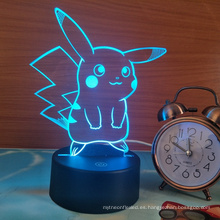 Pokemon Pikachu 3D LED Night Light, 3D Optical Illusion Visual Lamp 7 colores Touch Table Desk Lamp