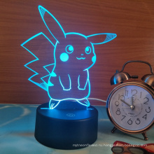 Покемон Пикачу 3D ночь свет LED, 3D оптическая иллюзия визуальное Светильник 7 цветов сенсорный стола настольная лампа