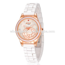 Taobao fino cristal de cerâmica branca slim relógio de quartzo de pedra