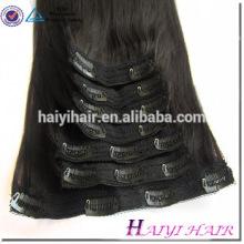 Fábrica de cabelo direto duplo desenhado remy atacado preço grampo de cabelo humano em extensões