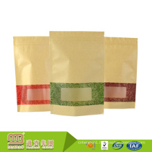 Guangzhou 100% Security Food Grade Custom Window Design Stand Up Wax Paper Bags White For Food