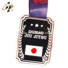 Artigos em massa barato liga de zinco esmalte logotipo medalha de prêmio de jiu-jitsu de metal