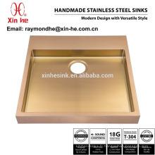 Lavabo en laiton de salle de bains plaqué par or en cuivre de PVD, évier de lavoir fait main industriel d'acier inoxydable pour la vente chaude