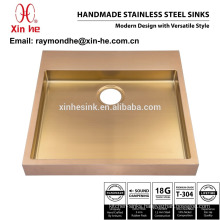 PVD Copper Brass Gold Plated Bathroom Sink, Industrial Handmade Stainless Steel Lavatory Sink for Hot Sale