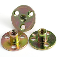 Galvanized steel round three brad tee nut with hole for climbing wall
