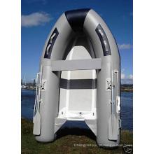 Barco inflável de fibra de vidro com casco rígido cinza claro de 2,7 m