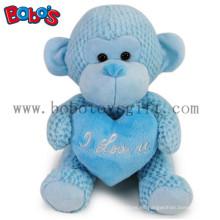 Regalo especial de San Valentín relleno de juguete de peluche de mono azul con almohada corazón azul