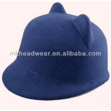 Vente en gros de chapeaux de boule à oreilles à chat en feutre en laine pour femme