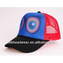Big eyes printing mesh cap in polyester sponge fabric