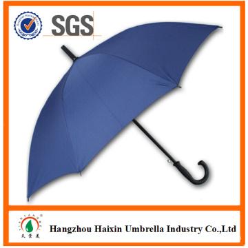 Lidar com cor azul grande barato personalizado impressão guarda-chuva com gancho plástico