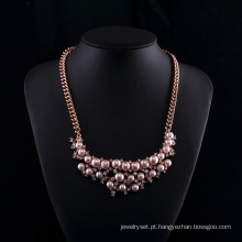 Conjunto de colar de pérola rosa rosa banhado a ouro strass tcheco