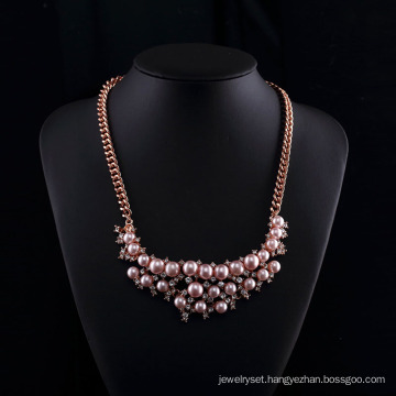 Rose Gold Plated Czech Rhinestone Pink Pearl Necklace Sets
