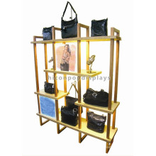 Shopping Mall Exposição do suporte do saco de janela Amarelo Powdered Wood Metal Advertising Handbag Display Stand