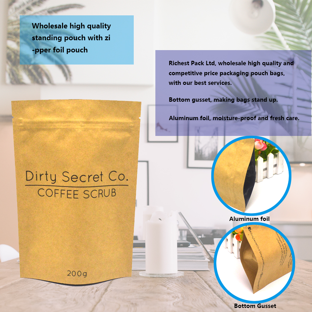 Heat seal colored aluminum foil Kraft coffee bag