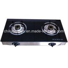 2 brûleurs en verre trempé en acier inoxydable économiseur d'énergie / cuisinière à gaz / cuisinière à gaz