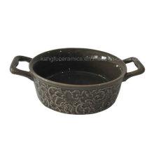 Plat de cuisson en grès à motif gaufré avec poignée