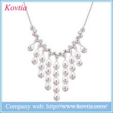 Colares de cristal de âmbar da borla da jóia 18k da corrente do ouro branco para o casamento