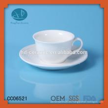 Taza de té de cerámica de venta al por mayor, taza de té de cerámica de 125ml y platillo, taza de té de tripe