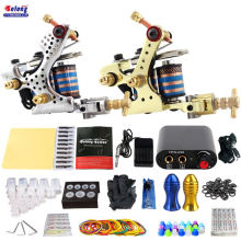 Solong Beginner Tattoo Kit 2 Pro Machine Guns Power Supply Needle Grips Tips best professional tattoo kit 2 machine gun