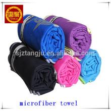 Wholesale 200gsm microfiber suede beach towels with zip pocket