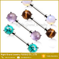 Surgical steel Prong Set Natural Semi Precious Stones Nipple Bar Rings