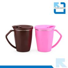 Estilo coreano 304 de acero inoxidable y taza de café de plástico y taza de helado con tapa