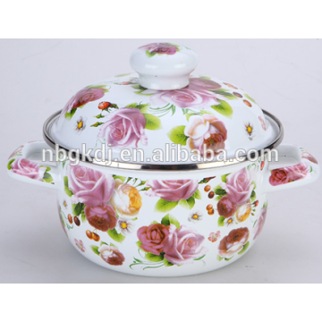 Color body enamel pot with metal lid and ceramic knob Color body enamel pot with metal lid and ceramic knob