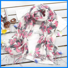 Fashion flower lady linen print scarf
