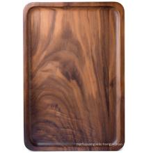Wood Rectangular Serving Trays, Medium, Black Walnut, 13.4 x 9 Inches: Serving Trays