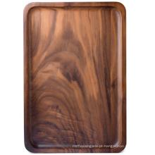 Bandejas retangulares de madeira, Medium, Black Walnut, 13.4 x 9 Inches: Servindo Bandejas