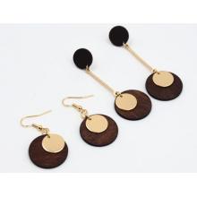 Mode Simple naturelle bois boucle d'oreille bijoux