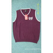 Burgundy Knit Mens Athletic Clothes Cotton Embroidery School's Sweater