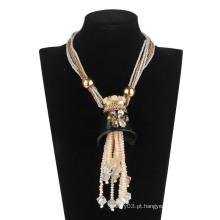 Grânulos de vidro de grande glória com pérola colar de moda (xjw13599)