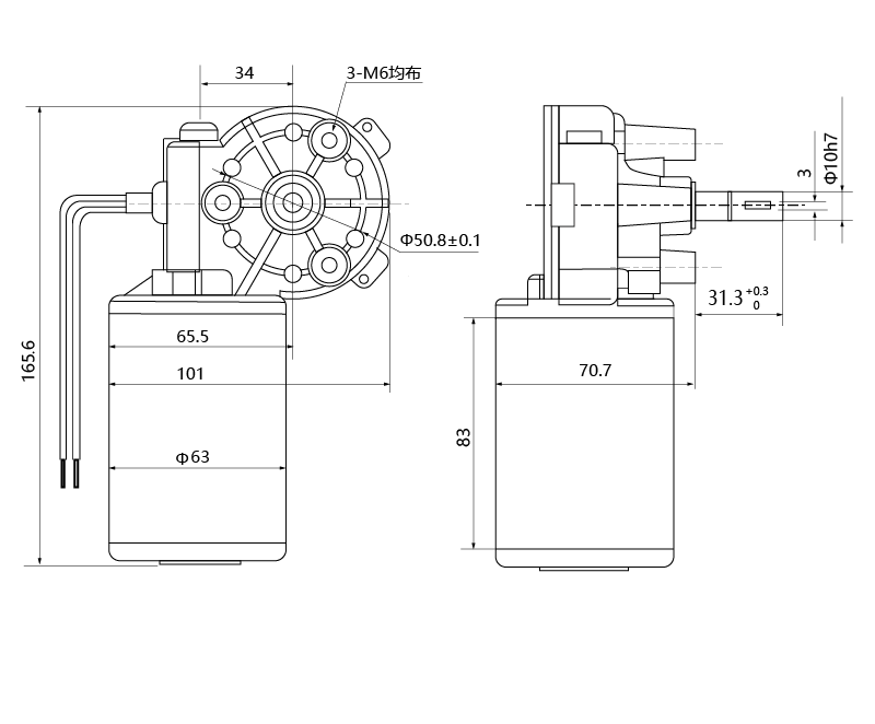 Drawing of ZD63R-2480-100 DC Gear Motor - MAINTEX