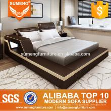 Ensemble de meubles de chambre à coucher en cuir de style européen simple
