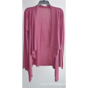 Women Long Sleeve Opean Pure Color Knit Cardigan