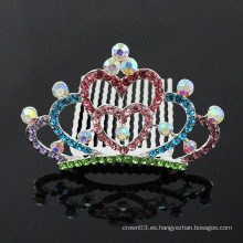 Peine de la corona de la princesa para los accesorios de moda del pelo del rhinestone de la muchacha