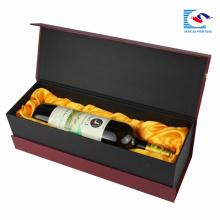 Caixa de presente feita sob encomenda por atacado da garrafa de vinho do cartão da caixa de empacotamento do vinho com espuma