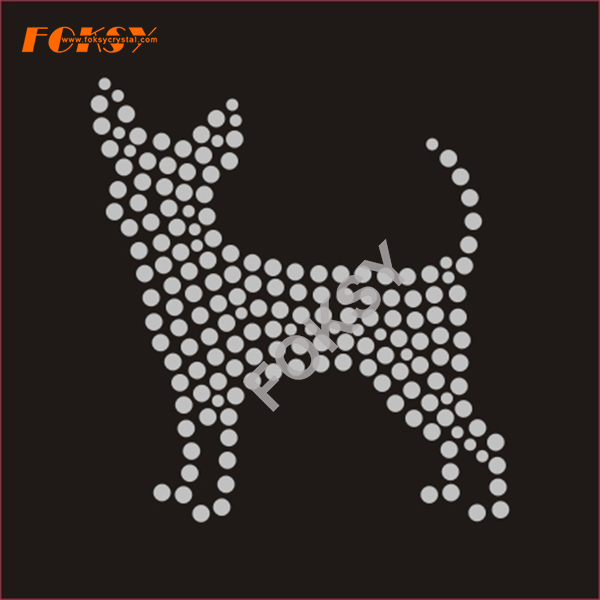 Crystal Dog Rhinestone Transfer Iron on Garment