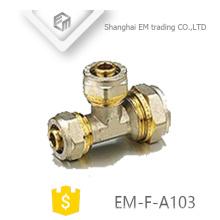 EM-F-A103 Messing Gleich T-Stück Druckrohrverschraubung
