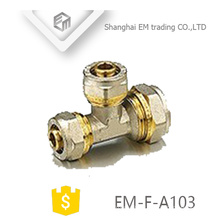 EM-F-A103 Brass Equal tee compression pipe fitting