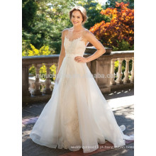 NA1013 New Arrival Elegant Scoop Sweep Train Appliqued Bodice Organza Backless Wedding Gown 2015