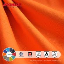 Tissu en sergé de coton ignifuge rouge