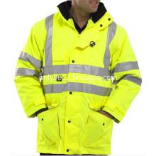 Reflective safety yellow coat