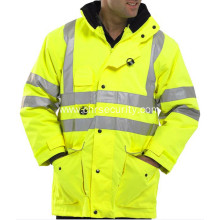 Reflective safety yellow coat
