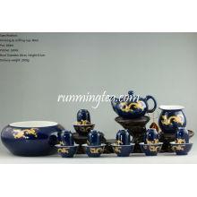 Golden Dragon Teaware Set, 6 paires de Drinking & Sniffing Cups + Théière + Pitcher + Gongfu Tea Bowl (dans un paquet cadeau)